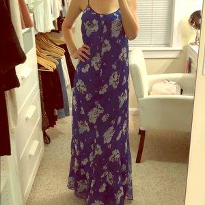 Zara floral blue maxi dress
